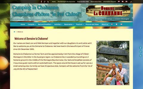 Screenshot of About Page lachabanne.nl - Domaine la Chabanne - Camping, gîte, safaritenten midden-Frankrijk - captured Oct. 12, 2017