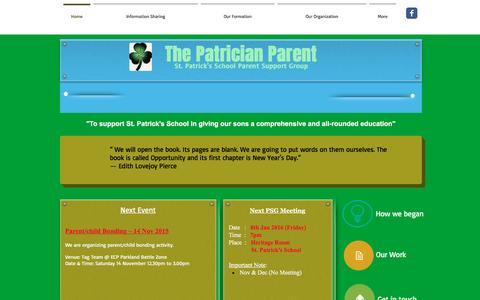 Screenshot of Home Page thepatricianparent.org - Wix.com PSG1 (The Patrician Parent) - captured April 10, 2017