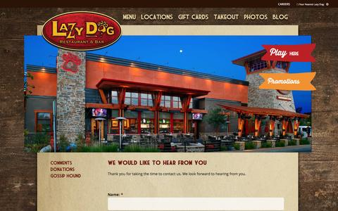 Screenshot of Contact Page lazydogrestaurants.com - Lazy Dog Restaurant & Bar Wants to Hear from you! - captured Jan. 26, 2016