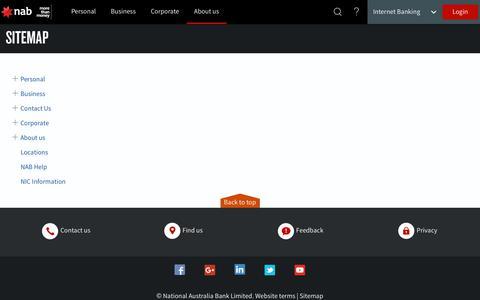 Screenshot of Site Map Page nab.com.au - Sitemap - NAB - captured Sept. 21, 2018