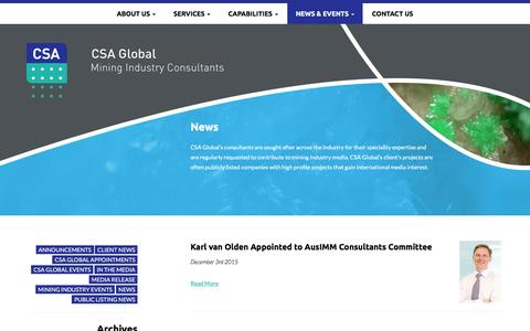 Screenshot of Press Page csaglobal.com - News - CSA Global - captured Dec. 6, 2015