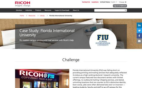 Screenshot of Case Studies Page ricoh-usa.com - Florida International University - captured Jan. 3, 2019