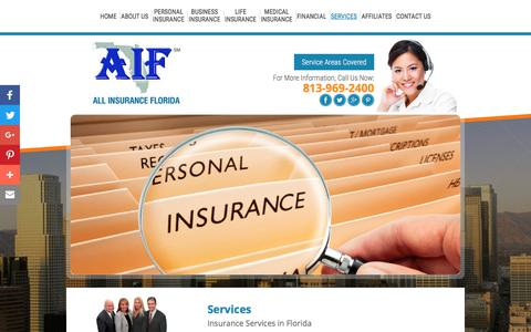 Screenshot of Services Page allinsuranceflorida.com - Insurance Services | All Insurance Florida | Tampa, Florida - captured July 28, 2018