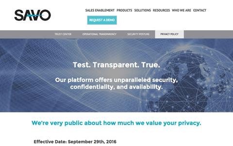 Privacy Policy - SAVO