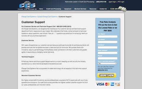 Screenshot of Support Page chargecardsystems.com - Customer Support | Credit Card Processing - Merchant Services - Interchange Rates - captured Sept. 29, 2014