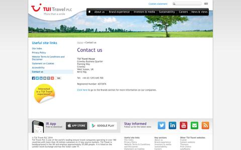 Screenshot of Contact Page tuitravelplc.com - Contact us | TUI Travel PLC - captured Sept. 24, 2014