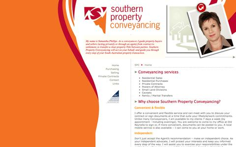 Screenshot of Home Page southernproperty.com.au - Southern Property Conveyancing > Conveyancer in the South of Adelaide, South Australia - conveyancing services, include residential settlements, private sales, power of attorney, land division, caveats, family/marital transfers, deceased estates > Mo - captured Oct. 6, 2014