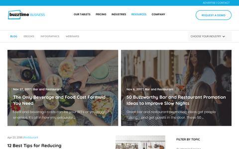Screenshot of Blog buzztime.com - Resources | Blog, Ebooks, Webinars, and Infographics | Buzztime - captured April 24, 2018