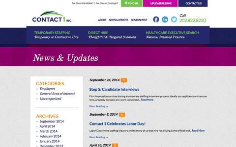 Screenshot of Press Page contact1inc.com - News & Updates - Contact 1 - captured Sept. 30, 2014