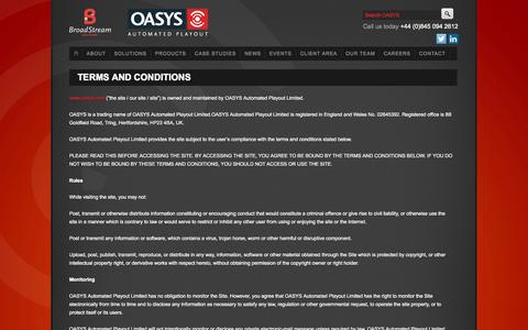 Screenshot of Terms Page oasys.com - Terms and Conditions - captured Oct. 7, 2014
