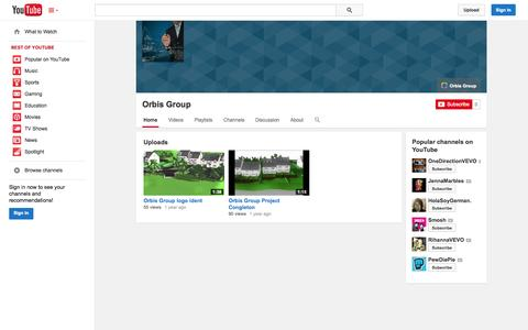 Screenshot of YouTube Page youtube.com - Orbis Group  - YouTube - captured Oct. 26, 2014