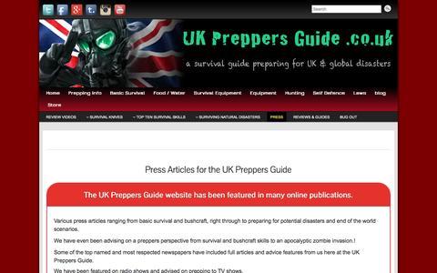 Screenshot of Press Page ukpreppersguide.co.uk - UK Preppers Guide Press and Public Relations | UK Preppers Guide - captured Nov. 23, 2016