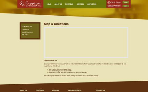 Screenshot of Maps & Directions Page coppingerexhibits.com - Map & Directions - Coppinger Exhibits - captured Oct. 3, 2014