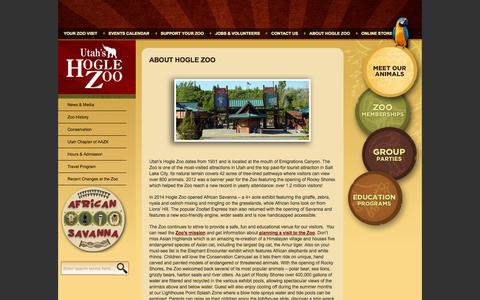 Screenshot of About Page hoglezoo.org - About Hogle Zoo « Utah's Hogle Zoo - captured Sept. 19, 2014