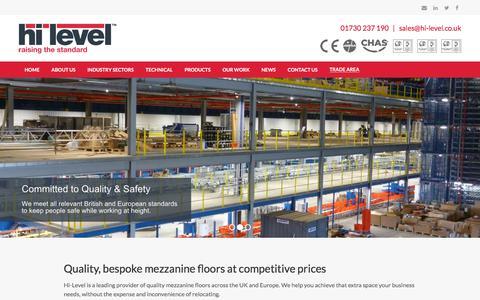 Screenshot of Home Page hi-levelmezzanines.co.uk - Mezzanine Floors | Warehousing | Mezzanine Flooring UK - captured July 15, 2019