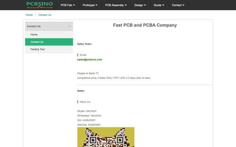 Screenshot of About Page Contact Page pcbsino.com - PCBSINO contact - captured Oct. 31, 2018