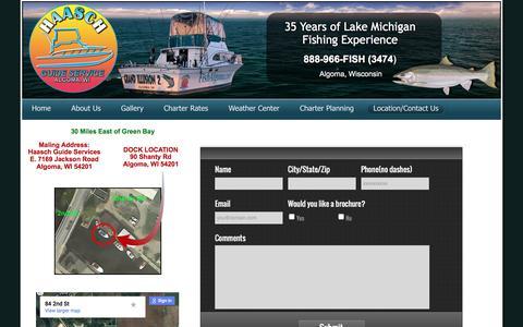 Screenshot of Contact Page fishalgoma.com - Haasch Guide Service, Algoma fishing charter, Algoma fishing services, Lake Michigan fishing, lake Michigan charter, fishing charter - captured Oct. 17, 2016