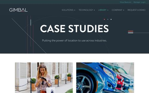 Screenshot of Case Studies Page gimbal.com - Mobile Marketing Case Studies | Gimbal - captured March 10, 2018