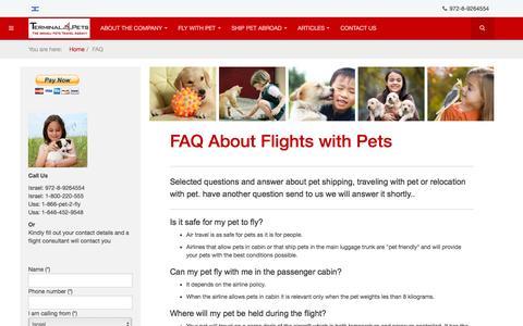 Screenshot of FAQ Page terminal4pets.com - FAQ Flight With Pets  - Terminal 4 Pets - captured Aug. 13, 2016