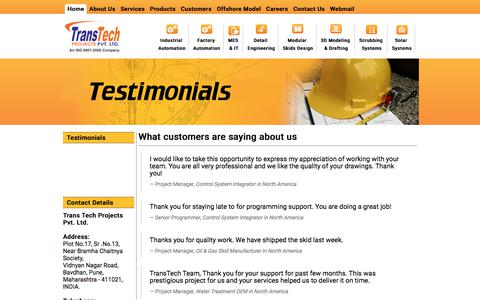 Screenshot of Testimonials Page transtechprojects.com - TransTech Projects - captured Oct. 25, 2017