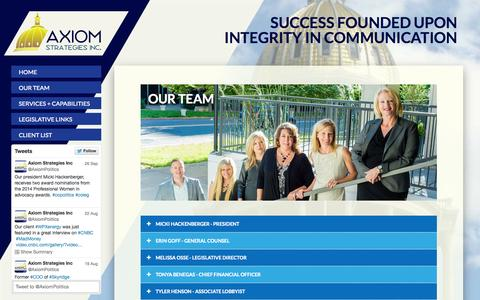 Screenshot of Team Page axiomstrategiesinc.com - Our Team | Axiom Strategies Inc. - captured Sept. 30, 2014