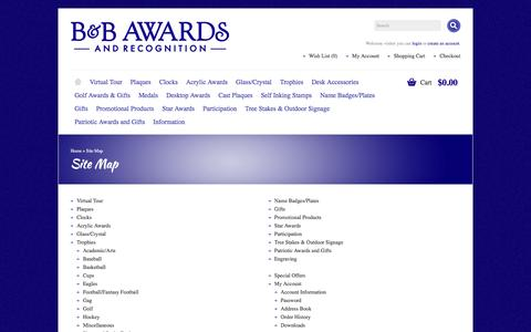 Screenshot of Site Map Page b-bawards.com - Site Map - captured Oct. 18, 2016