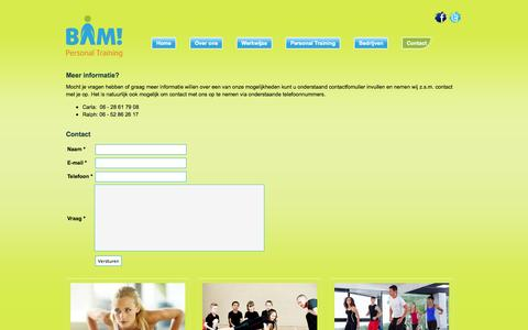 Screenshot of Contact Page bampersonaltraining.nl - BAM Personal Training - captured Sept. 30, 2014