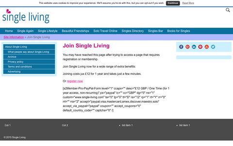 Screenshot of Signup Page single-living.com - Join Single Living - The online community for singles - captured Feb. 23, 2016