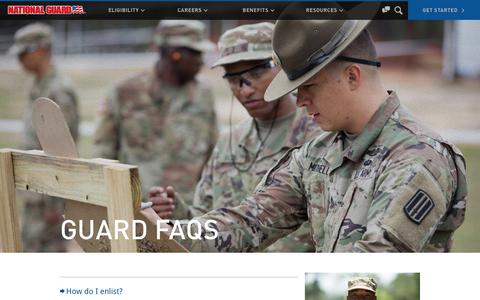 Screenshot of FAQ Page nationalguard.com - Guard FAQs | National Guard - captured April 26, 2018