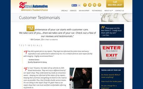 Screenshot of Testimonials Page 25thstreetautomotive.com - Customer Testimonials - 25th Street Automotive - captured Sept. 30, 2014