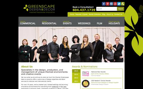 Screenshot of About Page greenscapedecor.com - About Us - Greenscape Design & Decor - captured Oct. 3, 2014