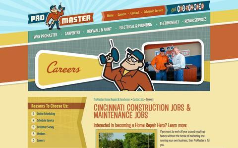 Screenshot of Jobs Page mastermylist.com - Cincinnati Construction Jobs and Home Maintenance Jobs - ProMaster Home Repair & Handyman of Cincinnati, OH - captured March 23, 2017