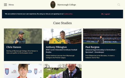 Screenshot of Case Studies Page myerscough.ac.uk - Case Studies | Myerscough College - captured Oct. 19, 2018