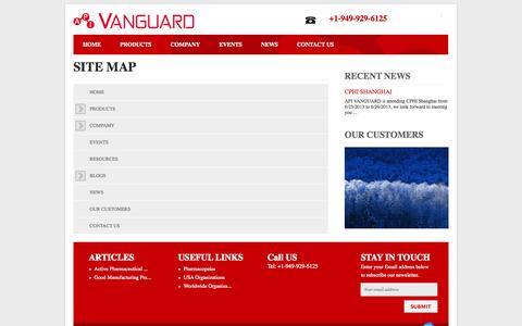 Screenshot of Site Map Page apivanguard.com - VANGUARD: Site Map - captured Oct. 4, 2014