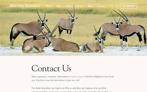 Screenshot of Contact Page micato.com - Contact Us - Micato Luxury Safaris - captured Dec. 12, 2018