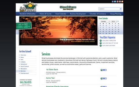 Screenshot of Services Page grinnellchamber.org - Grinnell Area Chamber of Commerce - captured Oct. 3, 2014