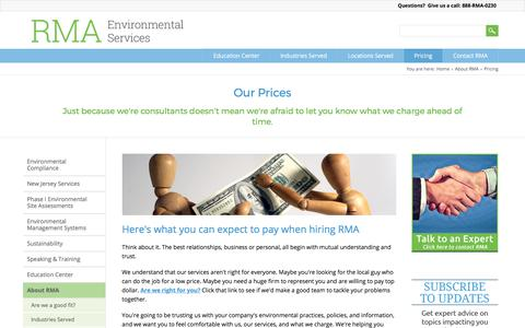 Screenshot of Pricing Page rmagreen.com - Environmental Sustainability Consulting Prices - captured Oct. 22, 2017