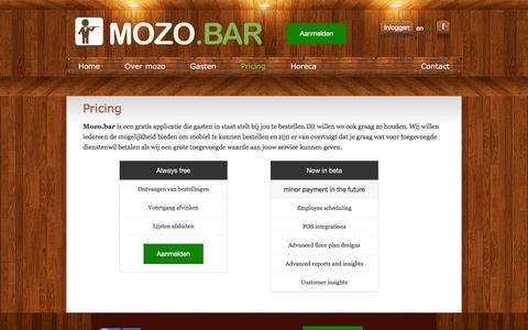 Screenshot of Pricing Page mozo.bar - mozo.bar - captured March 1, 2016
