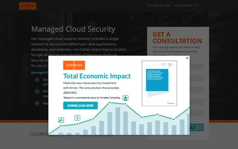 Screenshot of Landing Page armor.com - Managed Cloud Security | Cloud Infrastructure Security - captured May 11, 2017