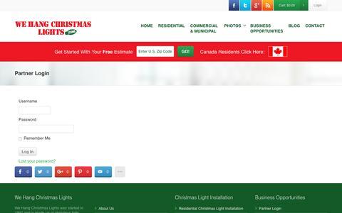Screenshot of Login Page wehangchristmaslights.com - Partner Login - - captured Dec. 14, 2016