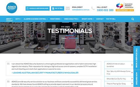 Screenshot of Testimonials Page adacs.com.au - Testimonials - ADACS Security Systems - captured Oct. 12, 2017