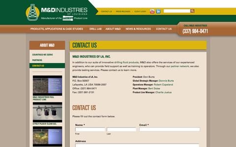 Screenshot of Contact Page drilllab.com - Contact Us | M&D Industries of LouisianaM&D Industries of Louisiana - captured Oct. 4, 2014