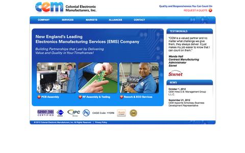 Screenshot of Home Page ceminc.net - Colonial Electronic Manufacturers, Inc. - New England's Leading Electronics Manufacturing Services (EMS) Company - captured Oct. 3, 2014