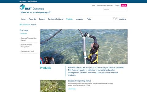 Screenshot of Products Page bmtoceanica.com.au - Products | Data and project management systems, technical products - captured May 31, 2017