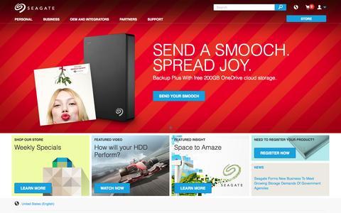Screenshot of Home Page seagate.com captured Nov. 16, 2015