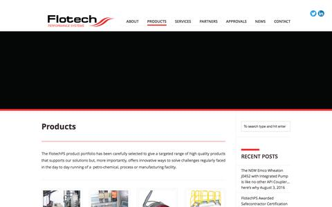 Screenshot of Products Page flotechps.com - Product Range | Flotech Performance Systems - captured Nov. 25, 2016