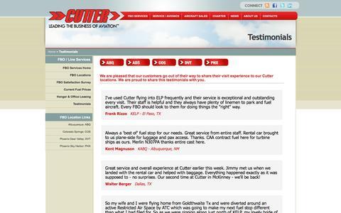 Screenshot of Testimonials Page cutteraviation.com - Testimonials | Cutter Aviation - captured May 24, 2017
