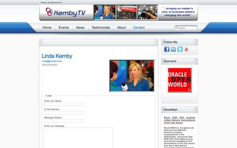 Screenshot of Contact Page kembytv.com - KembyTV Technology Events Conventions Interviews - Linda Kemby - captured Sept. 30, 2014