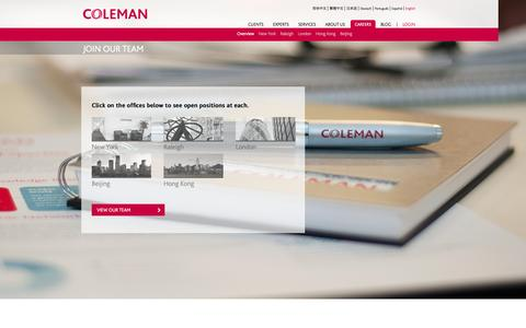 Screenshot of Jobs Page colemanrg.com - Careers - Overview | Coleman Research - captured Oct. 2, 2014