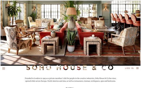 Screenshot of Home Page sohohouse.com - Soho House | Members Clubs, Restaurants, Cinemas, Workspaces, Spas and Bedrooms - captured Dec. 1, 2019